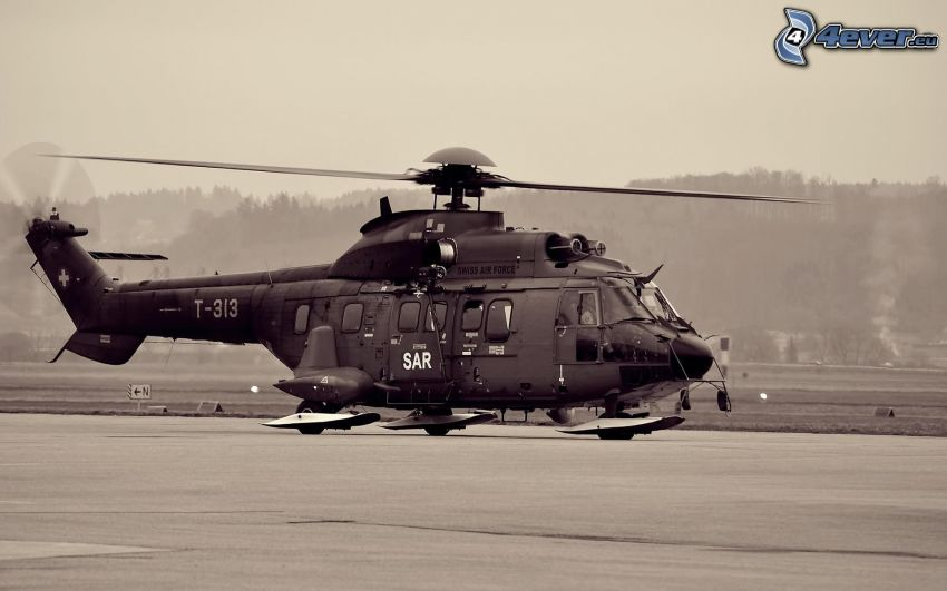 military helicopter, black and white photo