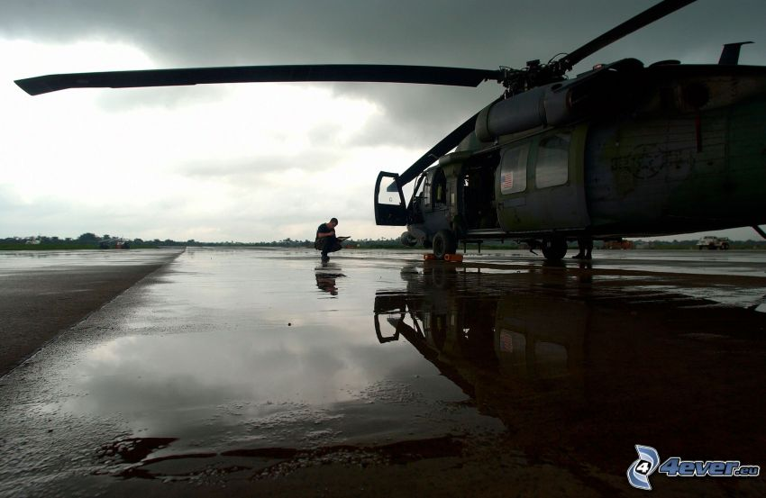 military helicopter, man, fen