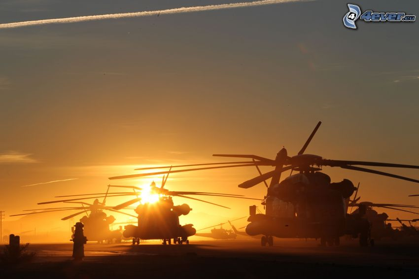 military helicopters, silhouette