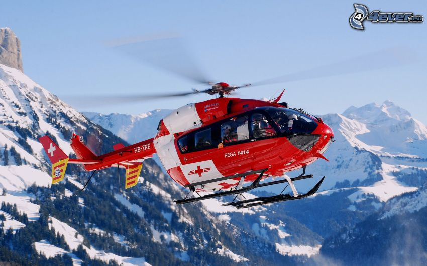 rescue helicopter, snowy mountains