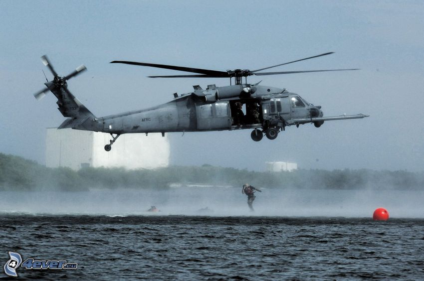 Sikorsky HH-60 Pave Hawk, military helicopter, descent from the helicopter