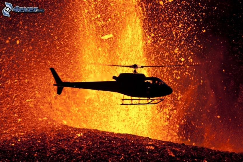 silhouette of helicopter, lava