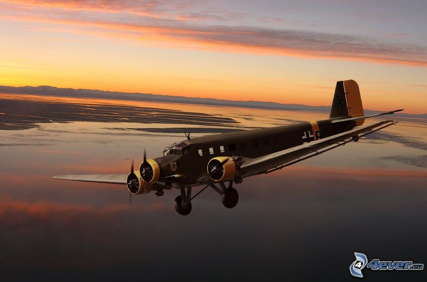 Junkers Ju 52, sky, lake
