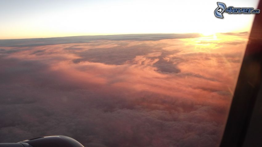 over the clouds, sunrise