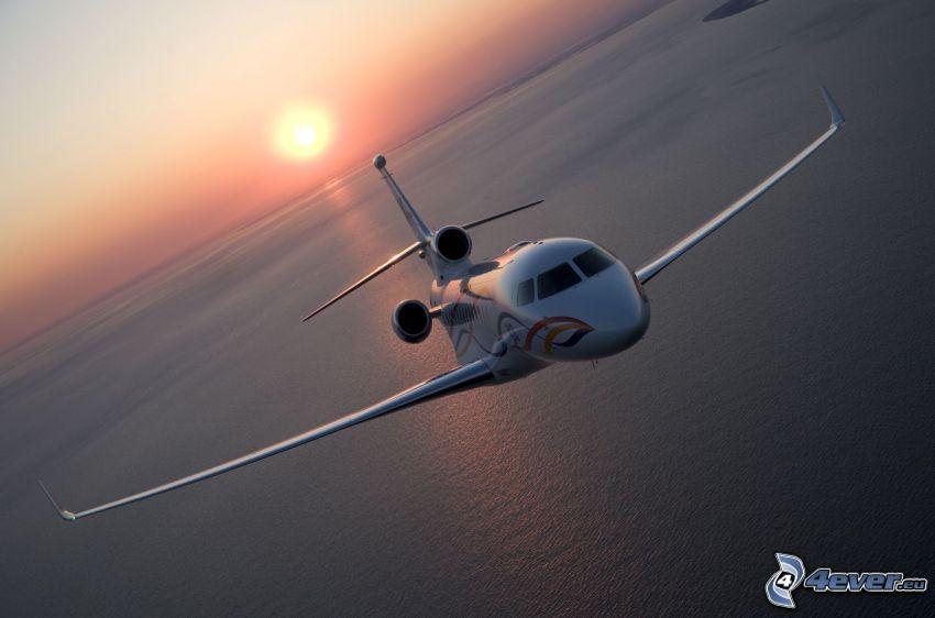 private jet, sea, sun