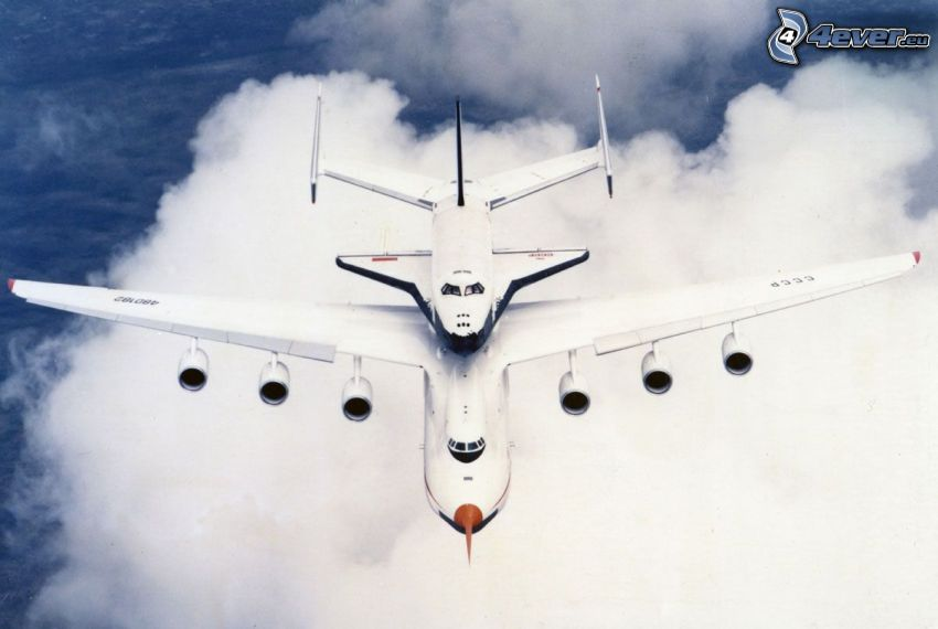 Antonov AN-225, russian space shuttle Buran, transporting space shuttle, clouds