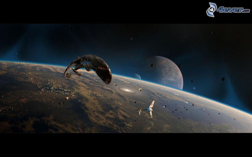 spaceship, planets