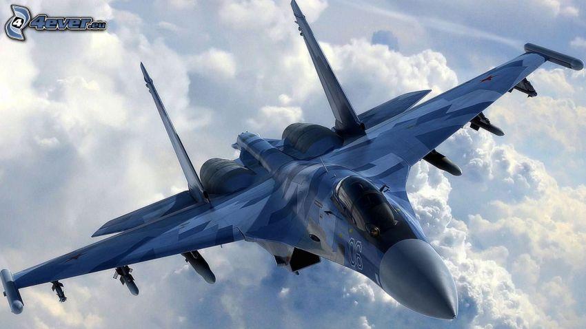 Sukhoi Su-35, clouds