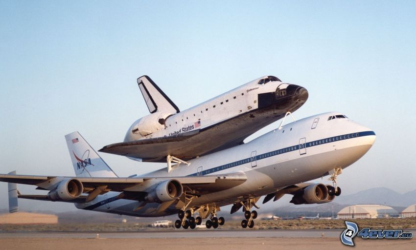 transporting space shuttle, aircraft, spaceship, sky