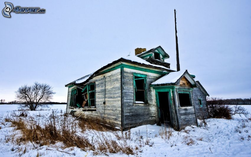 abandoned house, cottage, old building, snow