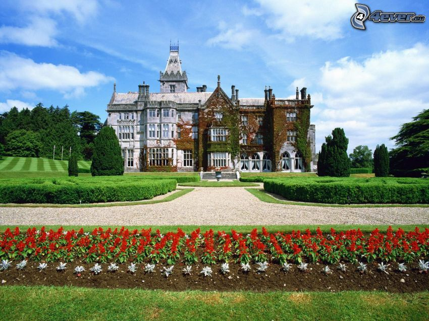 Adare Manor, manor-house, flowers