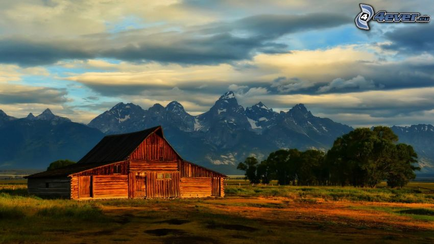 american farm, wooden house, rocky mountains, clouds, Grand Tetons National Park