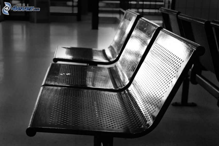 benches, waiting room, black and white photo
