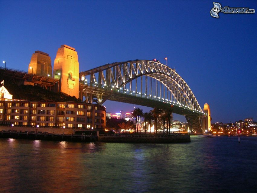 Auckland Harbour Bridge, lighted bridge, evening