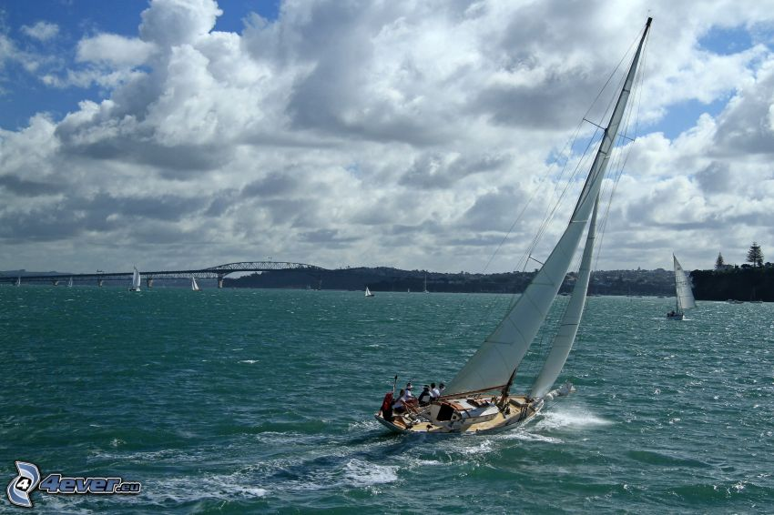 Auckland Harbour Bridge, ship, clouds