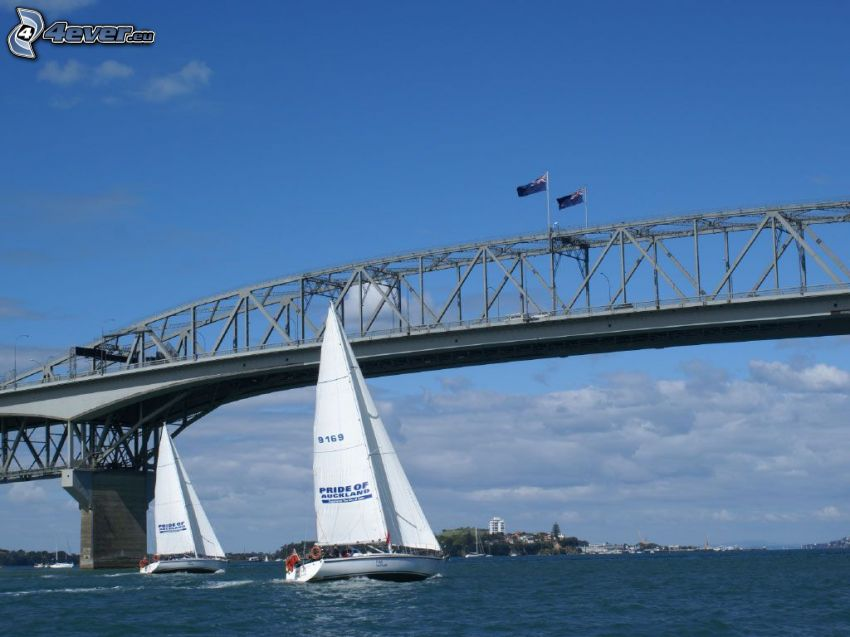 Auckland Harbour Bridge, ships