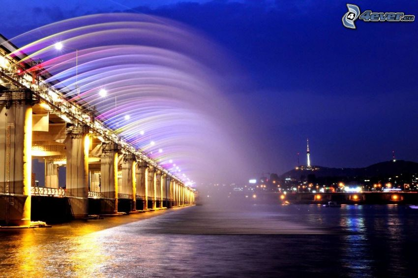 Banpo Bridge, lighted bridge, night city, colors