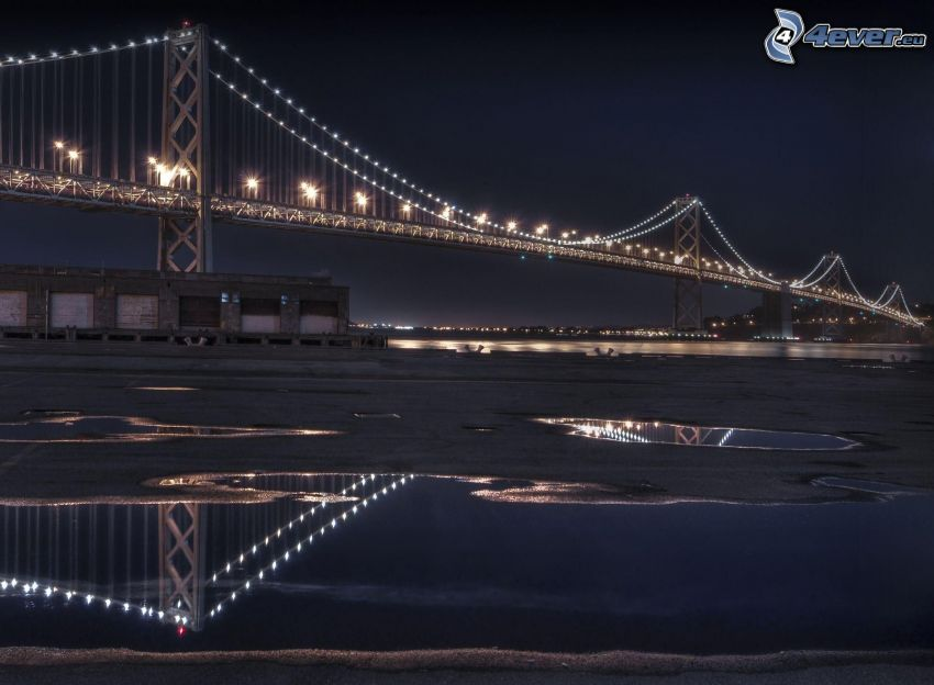 Bay Bridge, lighted bridge, night