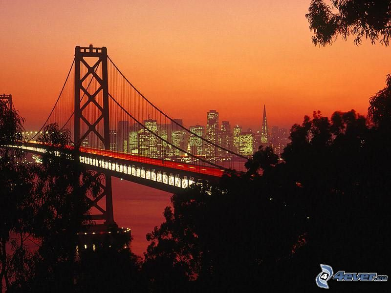 Bay Bridge, San Francisco, evening city, highway bridge, lights