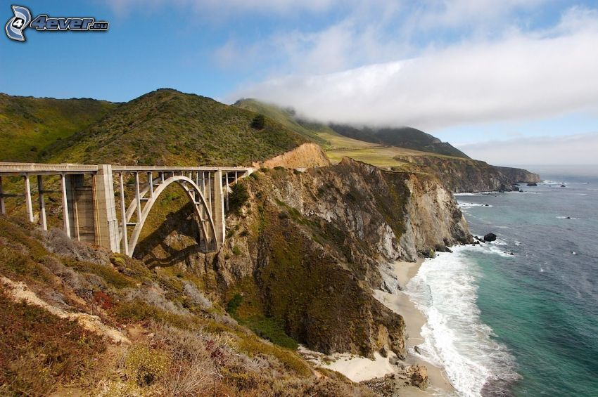 Bixby Bridge, coastal reefs, cloud