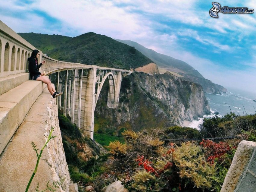 Bixby Bridge, coastal reefs, girl