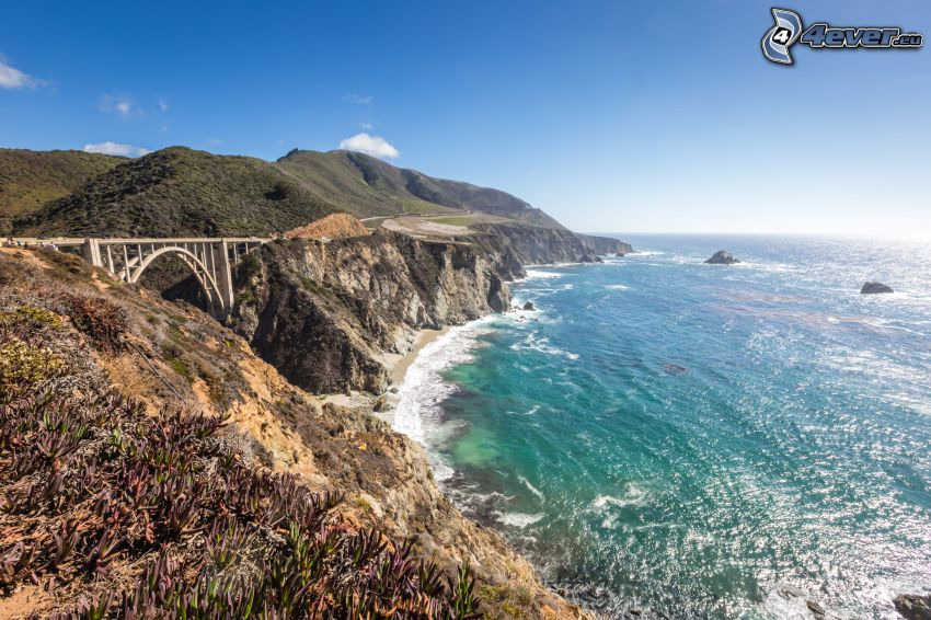 Bixby Bridge, coastal reefs, open sea, mountain