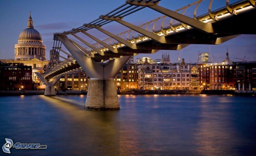 bridge, London, evening, Thames