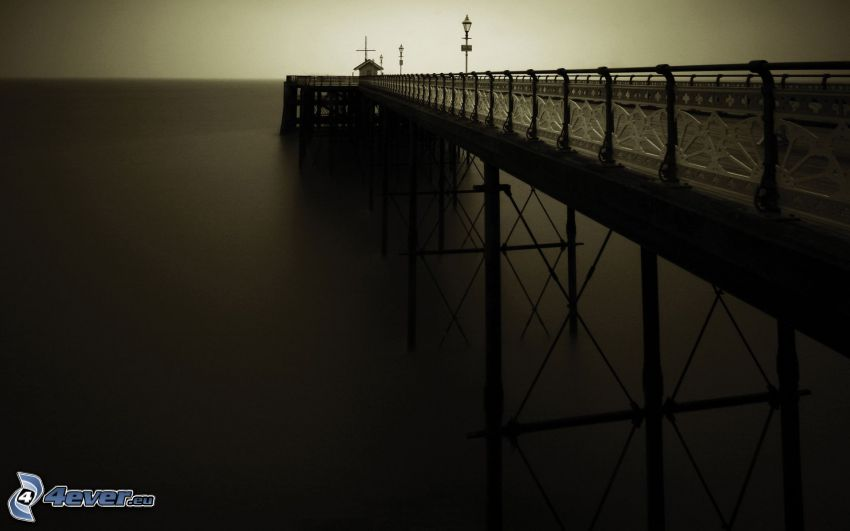 bridge, pier, sea