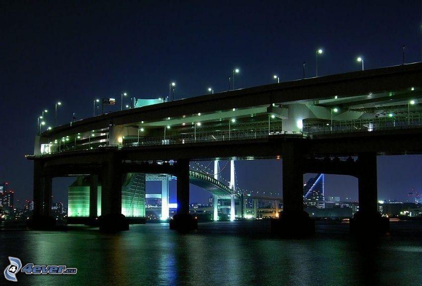 bridge, Singapore, night, street lights