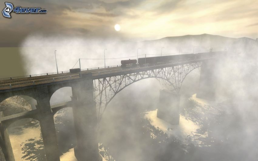 bridge in fog, train