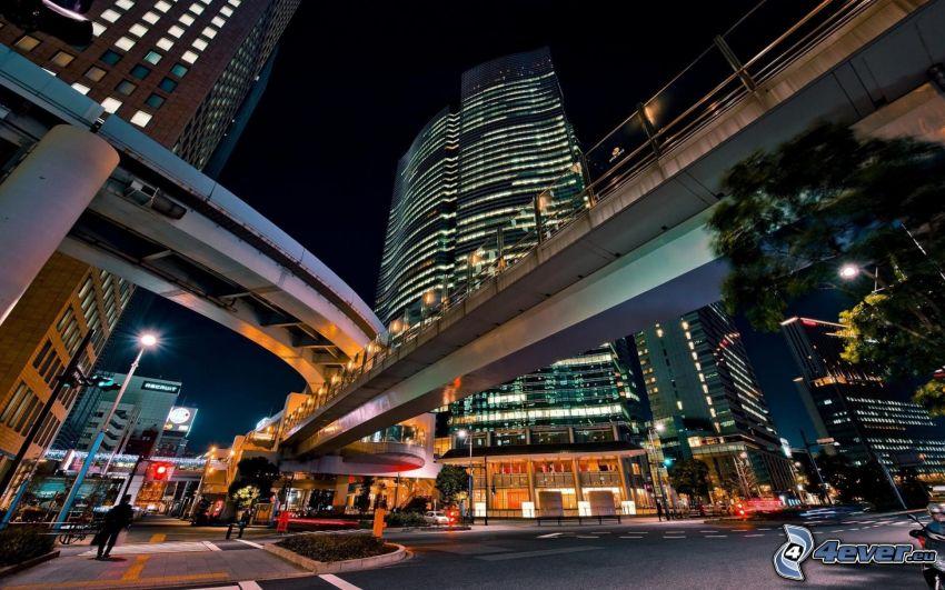 bridges, evening city