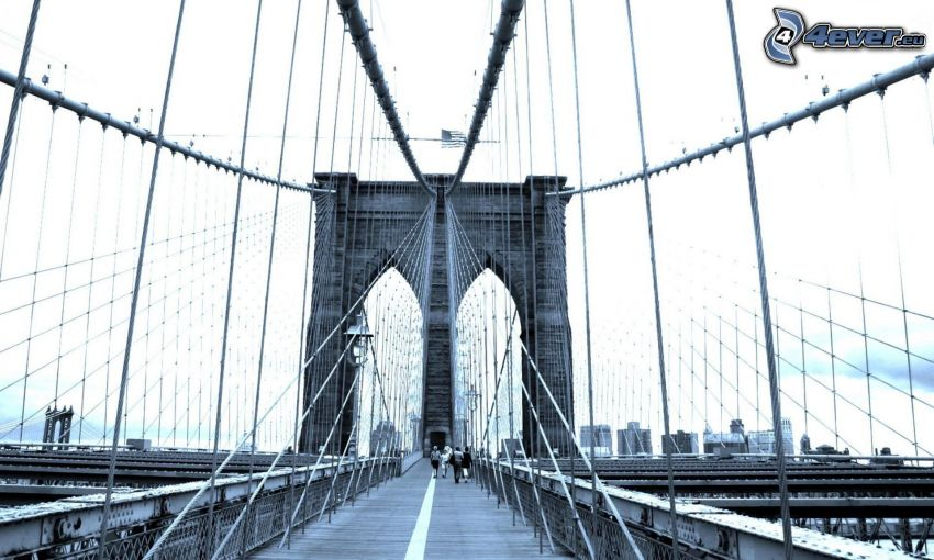 Brooklyn Bridge, pedestrian bridge, black and white