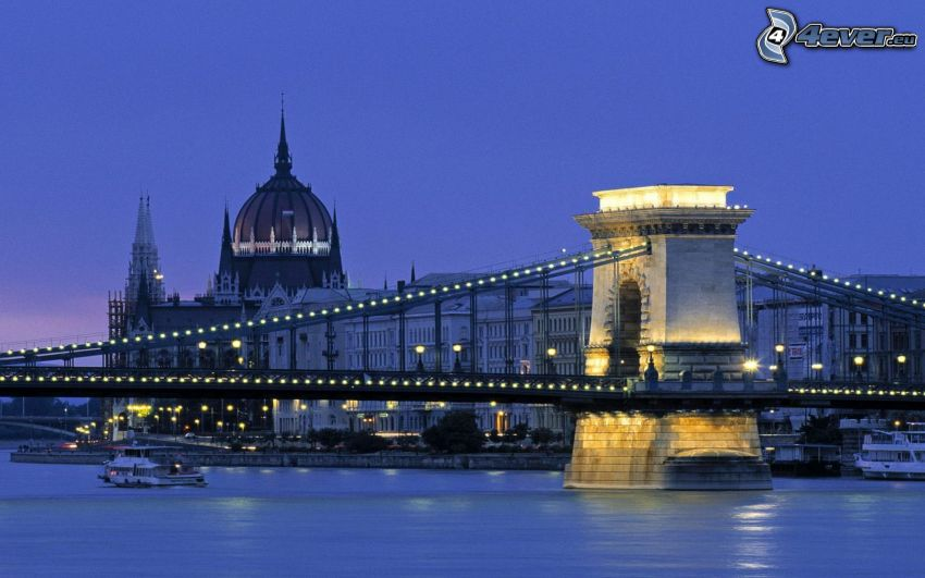 Budapest, bridge, Parliament, ship, Danube, River