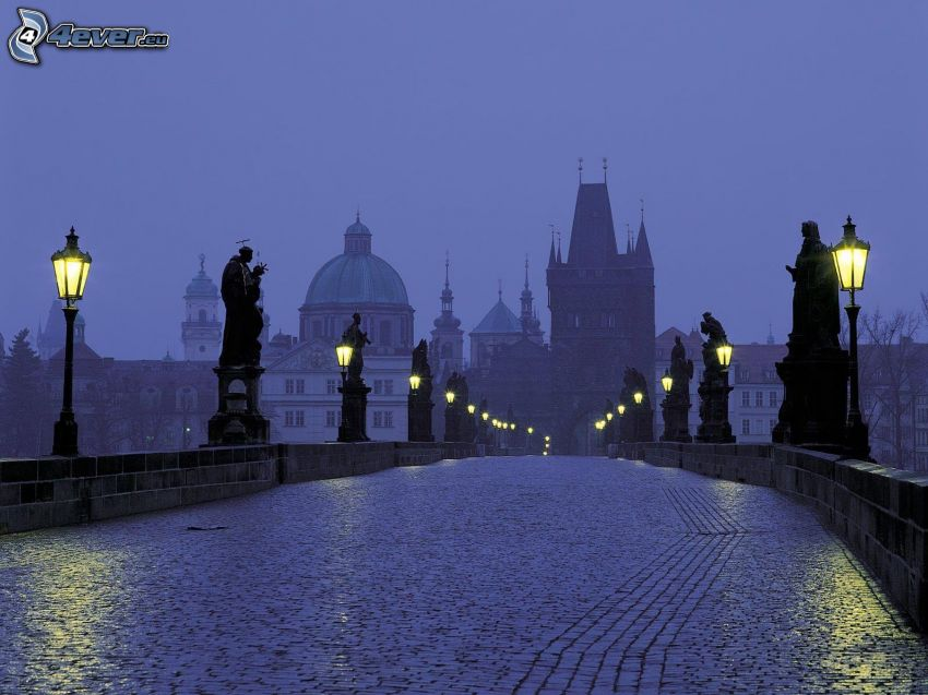 Charles Bridge, Prague, evening city