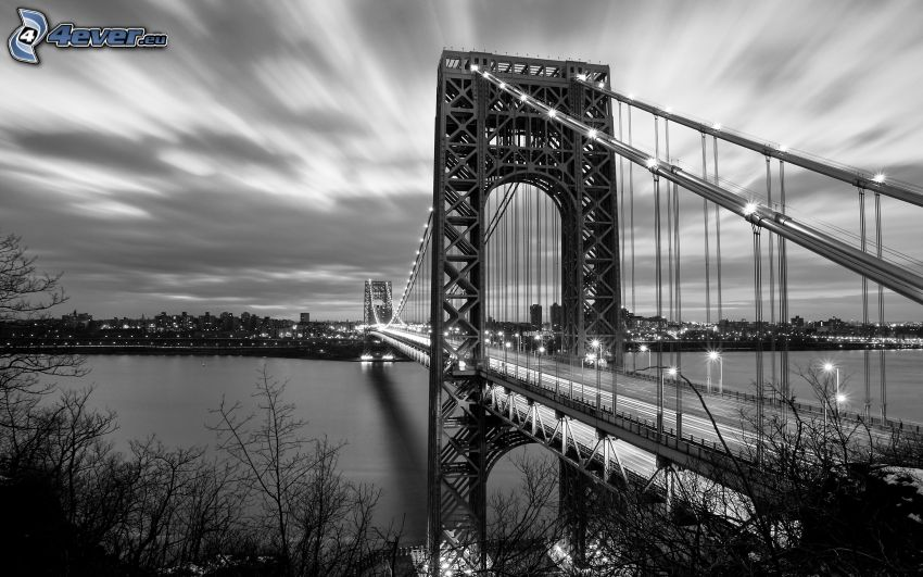George Washington Bridge, black and white photo