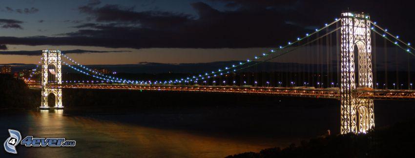 George Washington Bridge, lighted bridge, night