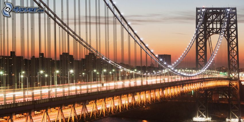 George Washington Bridge, lighted bridge, orange sky, evening city