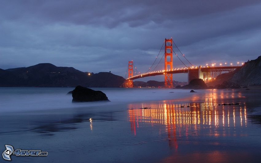 Golden Gate, evening, lighted bridge