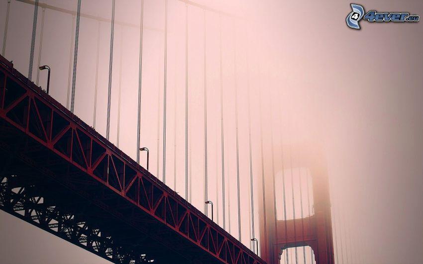 Golden Gate, iron bridge, fog