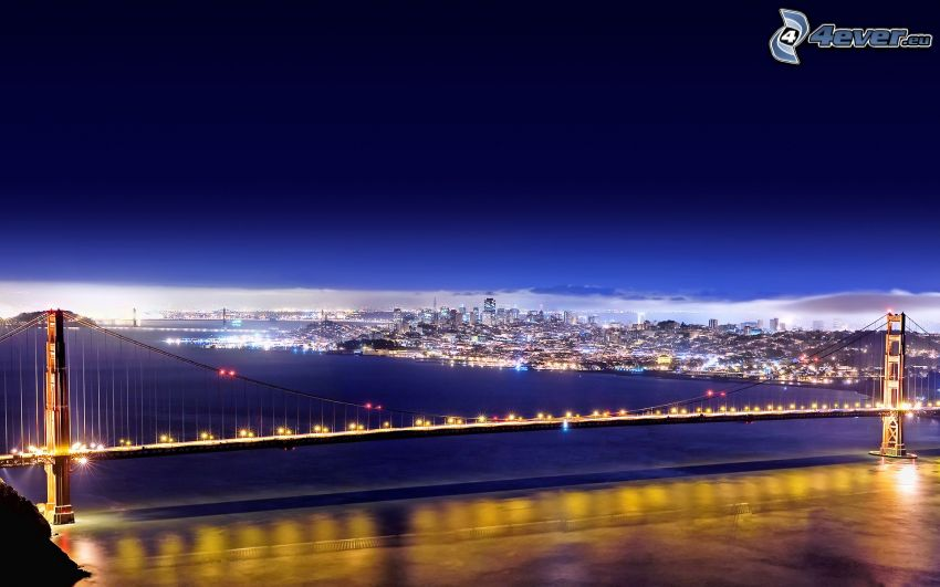 Golden Gate, San Francisco, lighted bridge, night city