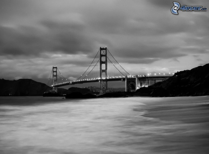 Golden Gate, San Francisco, USA, black and white