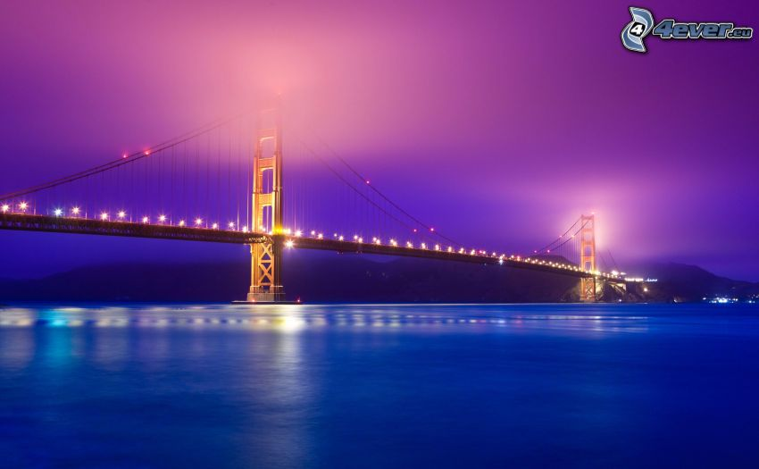 Golden Gate, San Francisco, USA, lighted bridge, bridge in fog, evening
