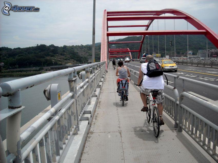 Guandu Bridge, cyclists