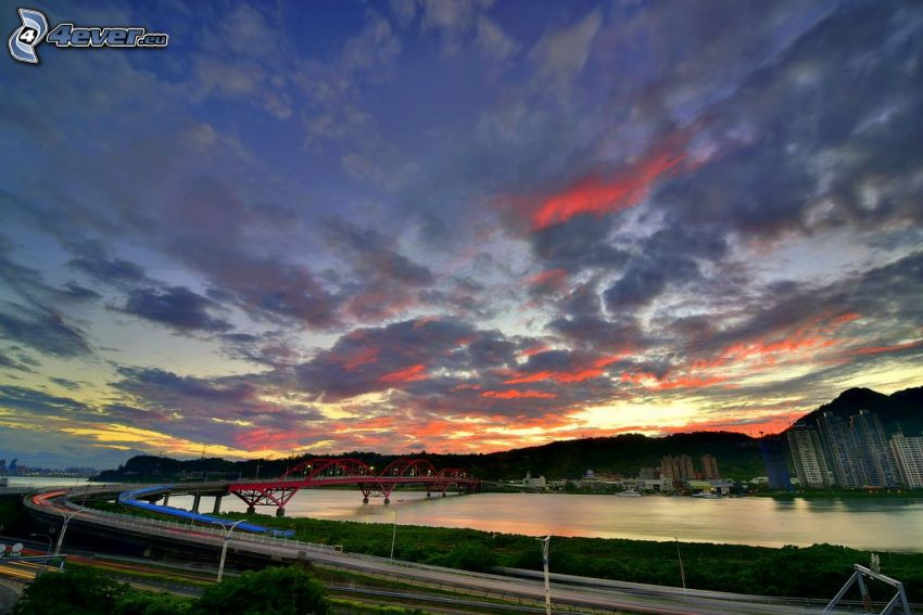 Guandu Bridge, evening city, clouds