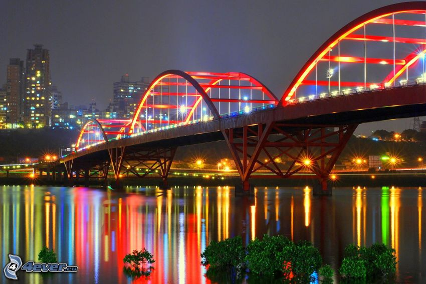 Guandu Bridge, lighted bridge, night city