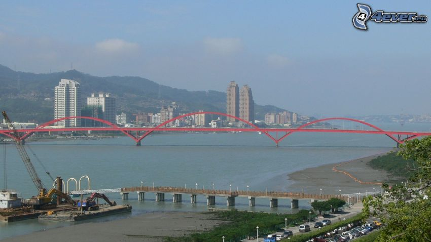Guandu Bridge, skyscrapers