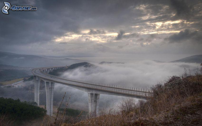 highway bridge, ground fog, clouds