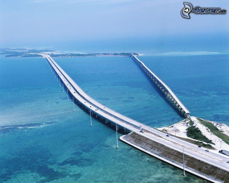 highway bridge, the view of the sea
