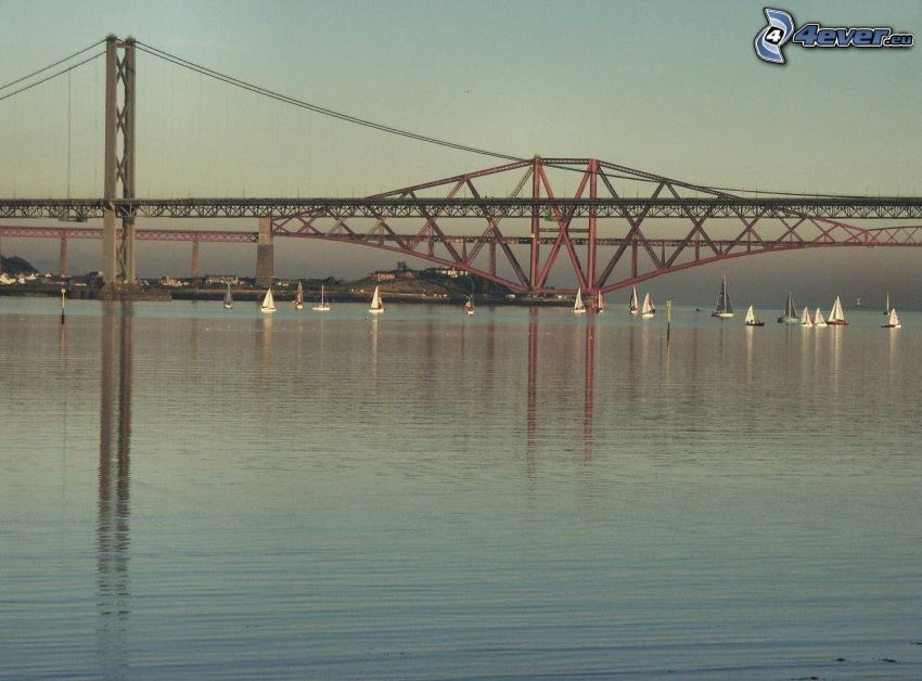 iron bridge, River, sea, water, lake, yachts