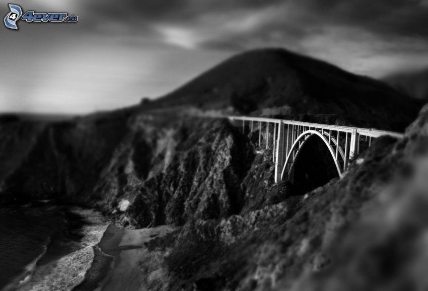 iron bridge, rocky hills, black and white, diorama
